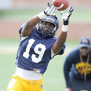 Former Zephyrhills' football star Jamal Roberts in action at a Kent State football practice.