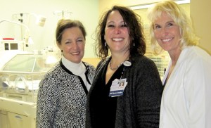 Leigh Massengill, CEO of Medical Center of Trinity, left, stands with Cheryl Sherrill and Lynn Smith in the new Neonatal Intensive Care Unit at the hospital. Sherrill is the hospital's director of women's and neonatal services, and Lynn Smith is neonatal services manager. (B.C. Manion/Staff Photo)