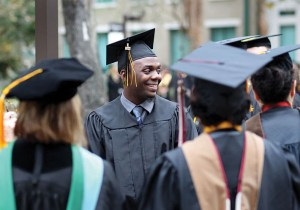 Jamal Roberts converses with other Pasco-Hernando State College graduates after the college's winter commencement. (Photos courtesy of Jamal Roberts)