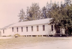 A look at the First Baptist Church of Lutz during its early days. This is the original wooden church, after it was expanded. (Courtesy of Joan Fletcher)