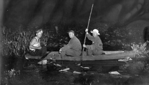 Gator hunting was done at night in the swamps of Wesley Chapel. Lonnie Tucker, at far left with a light on his head, guides two visitors through the swamp. (Photos courtesy of Madonna Jervis Wise)