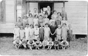 Two teachers and 33 students are in this photograph taken in the early 1920s at Wesley Chapel School.