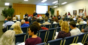 More than 100 residents came to a town hall meeting at Holy Trinity Lutheran Church, in Lutz. The meeting was hosted by Pasco County Commissioner Kathryn Starkey and Pasco County staff members. (Kathy Steele/Staff Photo)