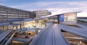 The master plan for Tampa International Airport includes construction of a 1.4-mile automated people mover to transport passengers between the main terminal and a new rental car center.