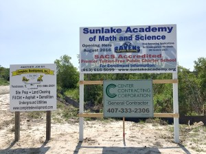 The highway entrance of Sunlake Academy, at 18711 North Dale Mabry Highway in Lutz. Up until April 27, the school advertised it would open in August 2016.