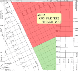 Here is a map of some of the neighborhoods the 'Clean Team' is targeting for its neighborhood cleanup program. The red shaded area is where the crew's third cleanup was on Feb. 27. They will focus on neighborhoods that fall within the green shade on May 21. (Courtesy of Gail Hamilton)