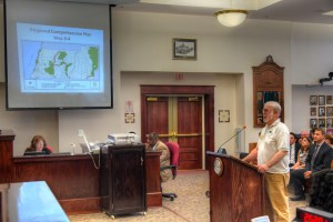 Mac Davis, of the Gulf Coast Conservancy, spoke at a public hearing in support of the county's plan to create wildlife corridors.