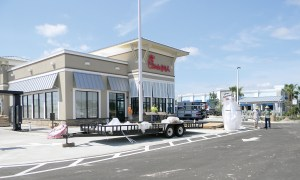 Construction is nearing an end at Chick-fil-A on Sun Vista Drive, by Tampa Premium Outlets. Opening is June 30.