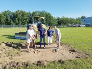 The new business hangar broke ground on June 22. From left, Keith Morrell, John Prahl, Scott McBride, Melonie Monson and Thomas Morrell. (Photos courtesy of TKM Aviation)