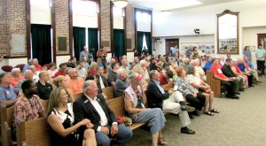 About 100 constituents attended the question-and-answer style town hall, which lasted about three hours.