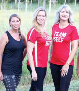 A group of Florida cattlewomen have formed Team Beef to complete the 2016 Savage Race. From left: Reyna Hallworth, Ashley Hughes and Beth Hunt. (Courtesy of Florida Cattlewomen Inc.)