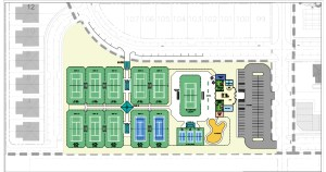 This rendering of the Zephyrhills Tennis Center shows 10 courts (eight clay, two hard surface), three mini-courts and one exhibition court. The tennis center is also expected to feature a pro shop, a multifunctional community room, and two office spaces. A second level, if added, will contain an observation deck, players lounge, and concessions. (Courtesy of City of Zephyrhills)