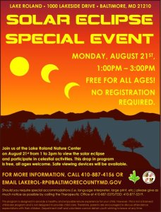 2017 Solar Eclipse Special Event @ Lake Roland Nature Center   Baltimore   Maryland   United States
