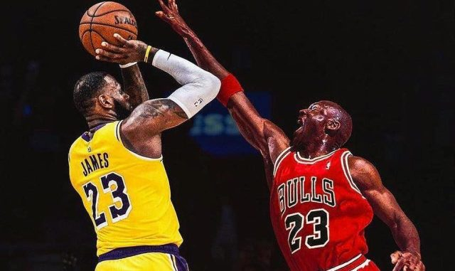 LeBron James (left) of the Los Angeles Lakers; Michael Jordan of the Chicago Bulls