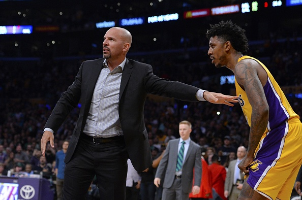 d62d20cfc42 LOS ANGELES, CA – MARCH 17: Jason Kidd, coach of the Milwaukee Bucks tries  to restrain Nick Young #0 of the Los Angeles Lakers after a scuffle between  the ...