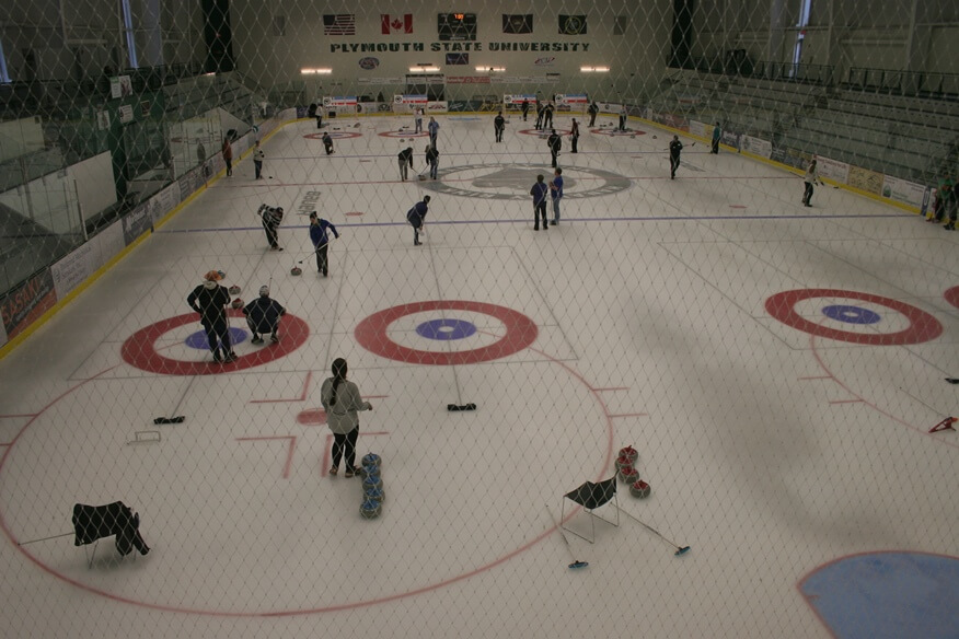 Curling matches in progress