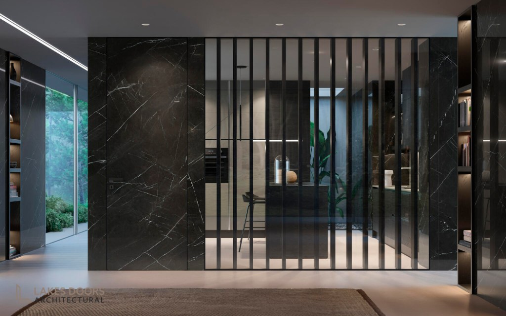 Black marble wall panelling
