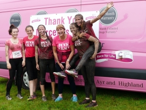 Lakes Free Range Egg co get muddy at race for life