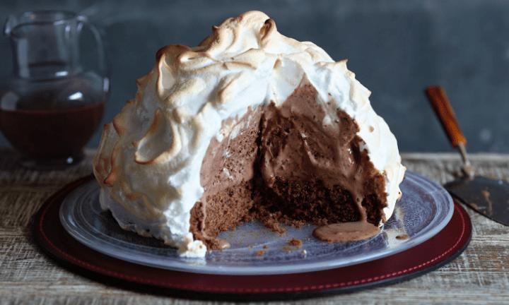 Baked Alaska with Chocolate Sauce