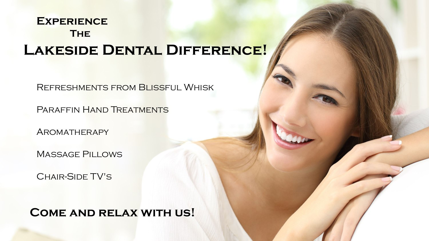 Lakeside Dental difference smiling woman with white teeth