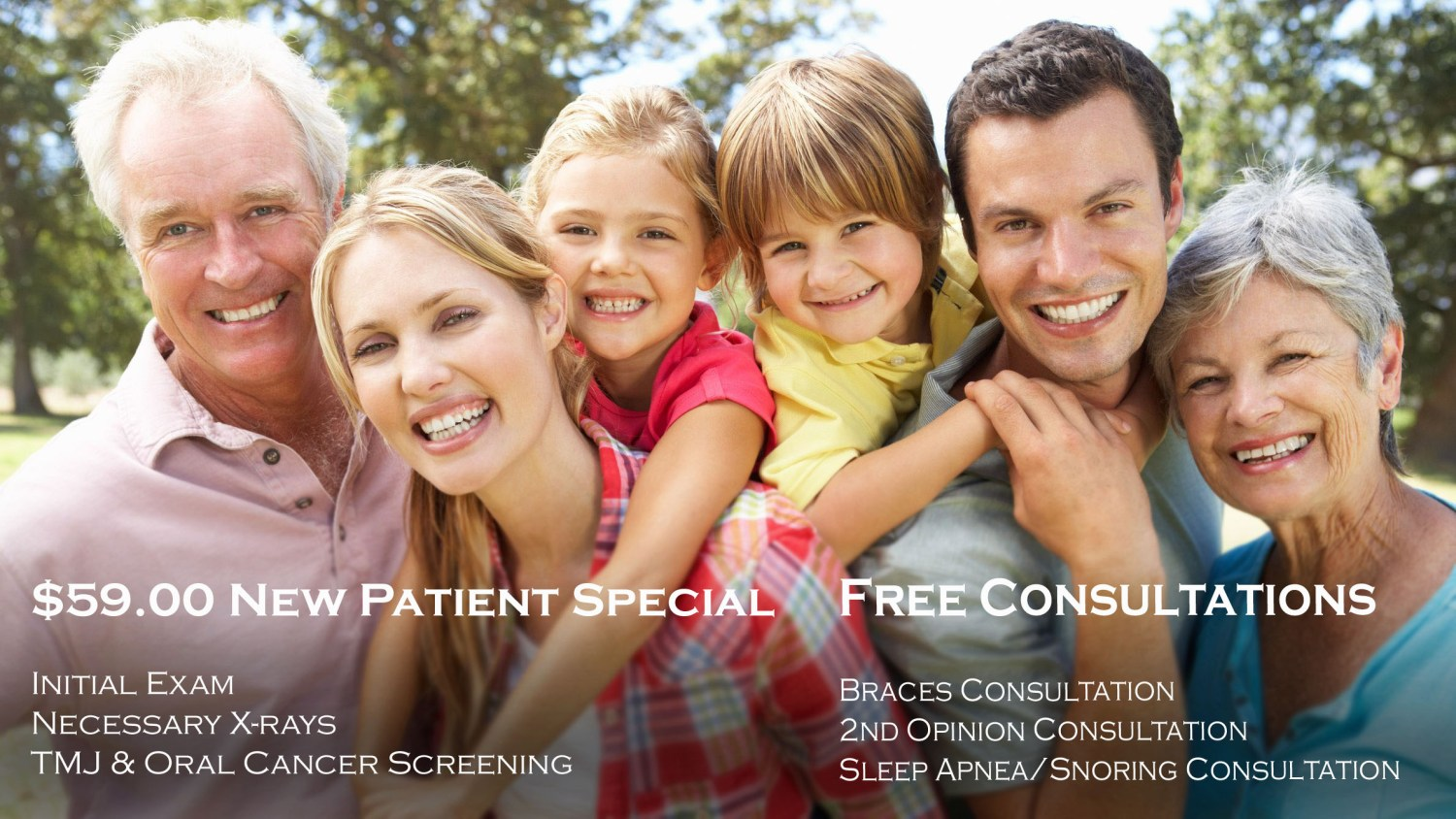 Smiling Family with Caption explaining new dental patient special