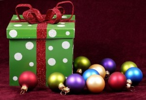 A gift and tree ornaments