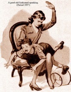 a picture from the 1950's of a mother spanking her son