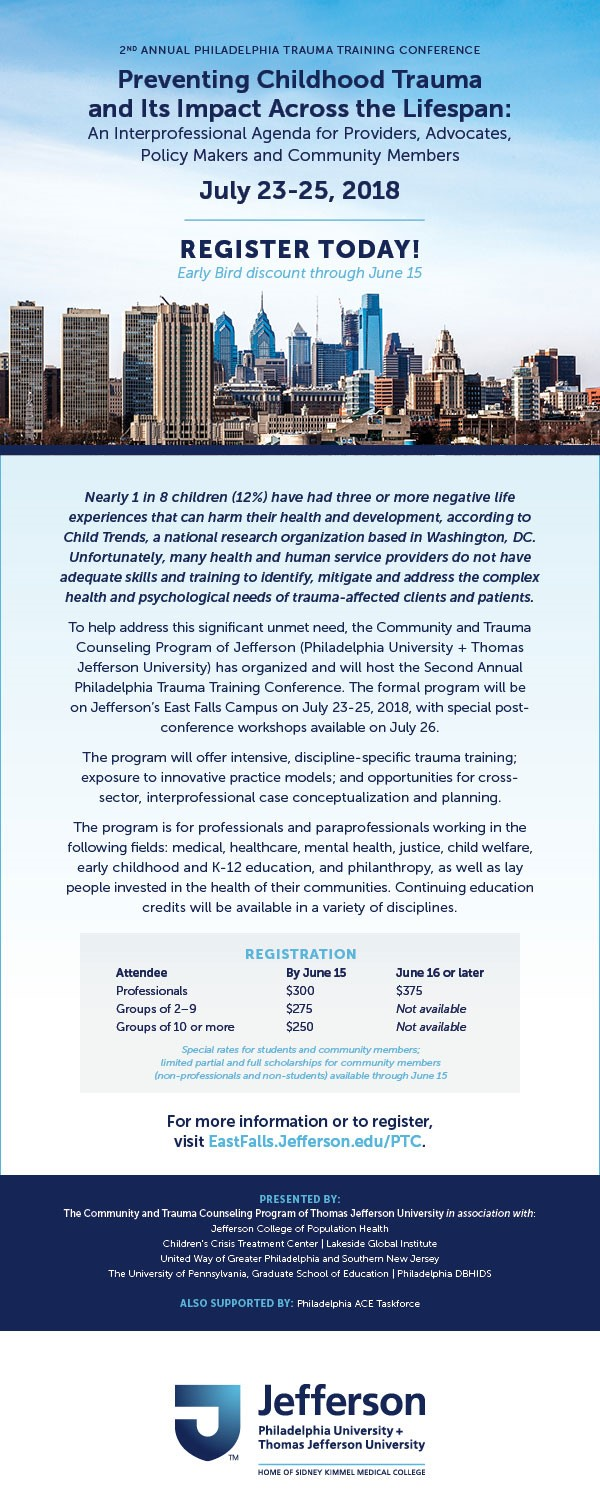 Upcoming Trainings Complex Childhood >> 2nd Annual Philadelphia Trauma Training Conference Happening Now
