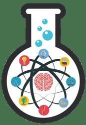 beaker with atom symbols