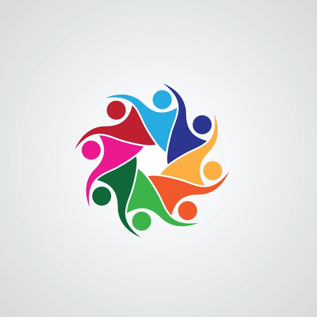 Human character concept, teamwork icon