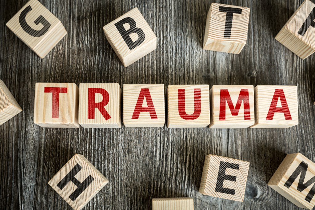 Wooden Blocks with the text: Trauma