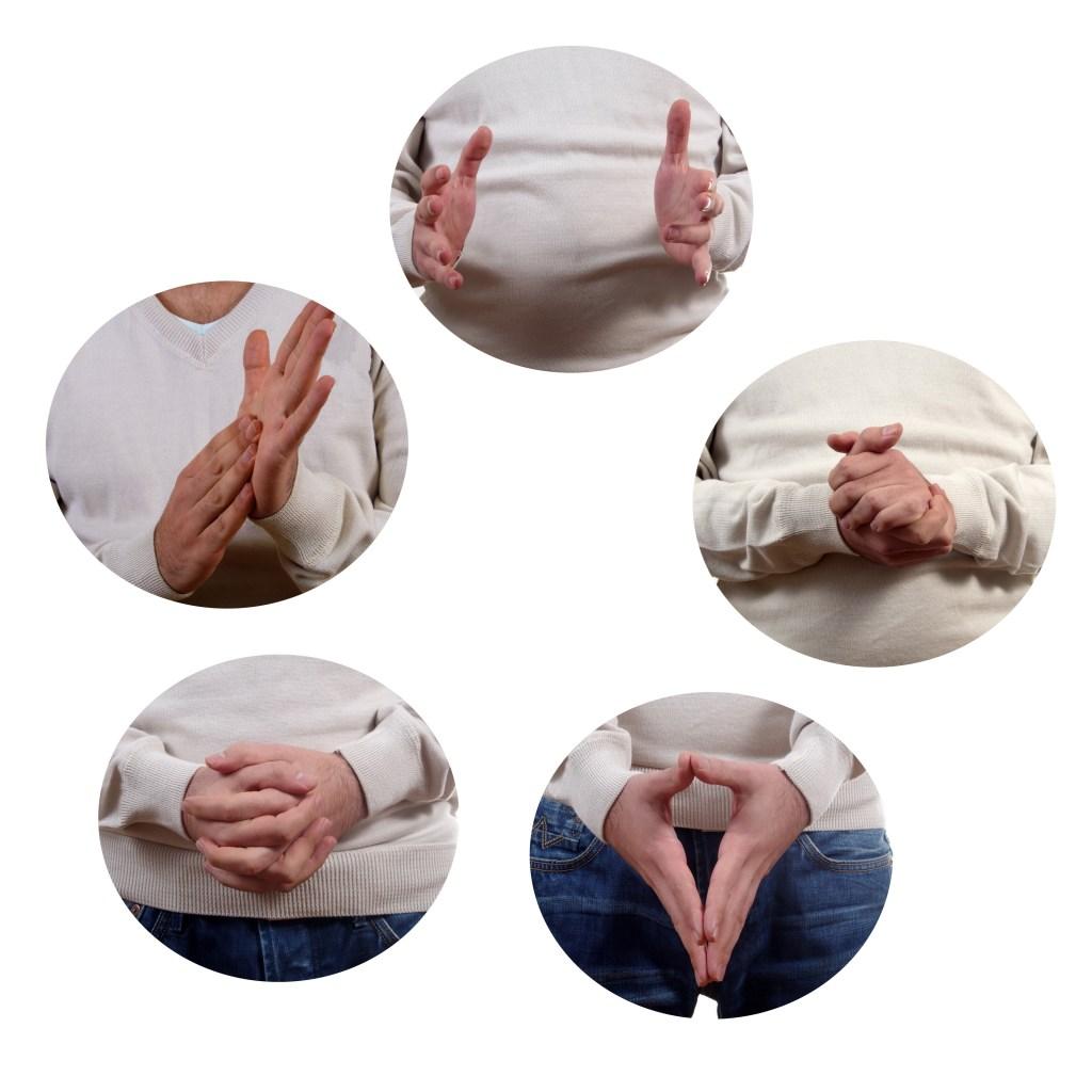 body language postures set closeup