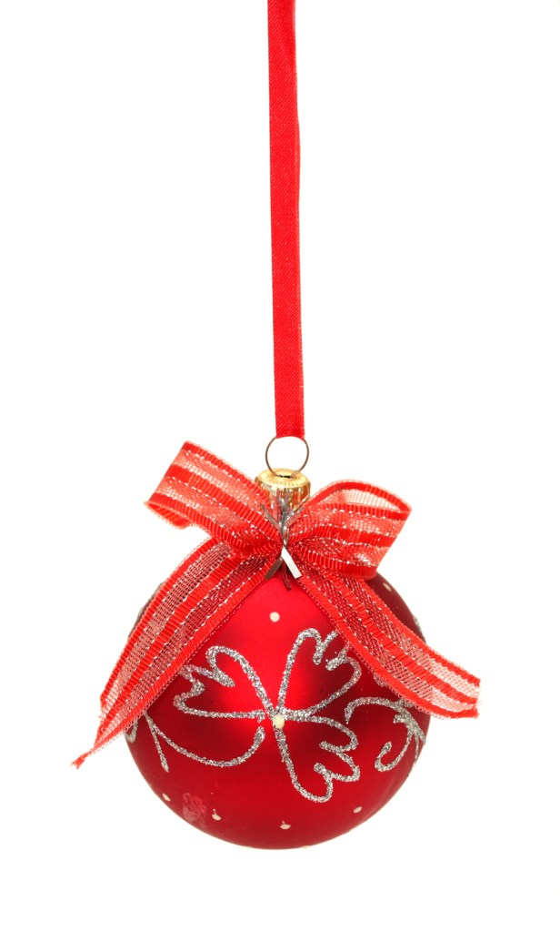 Red christmas ball with ribbon and bow isolated on white background
