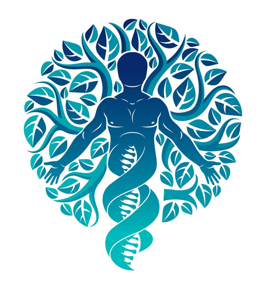 Mystic character deriving from DNA strands and made with family tree leaves.