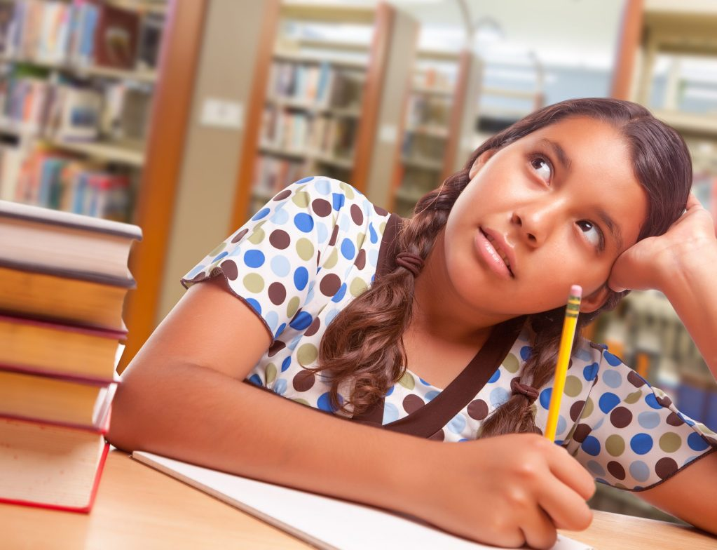 Daydreaming Hispanic Girl Student with Pencil and Books