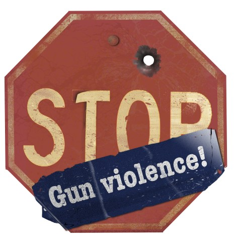 A stop gun violence sticker is seen on a traffic stop sign that has a bullet hole in the sign. This is a 3-D illustration.