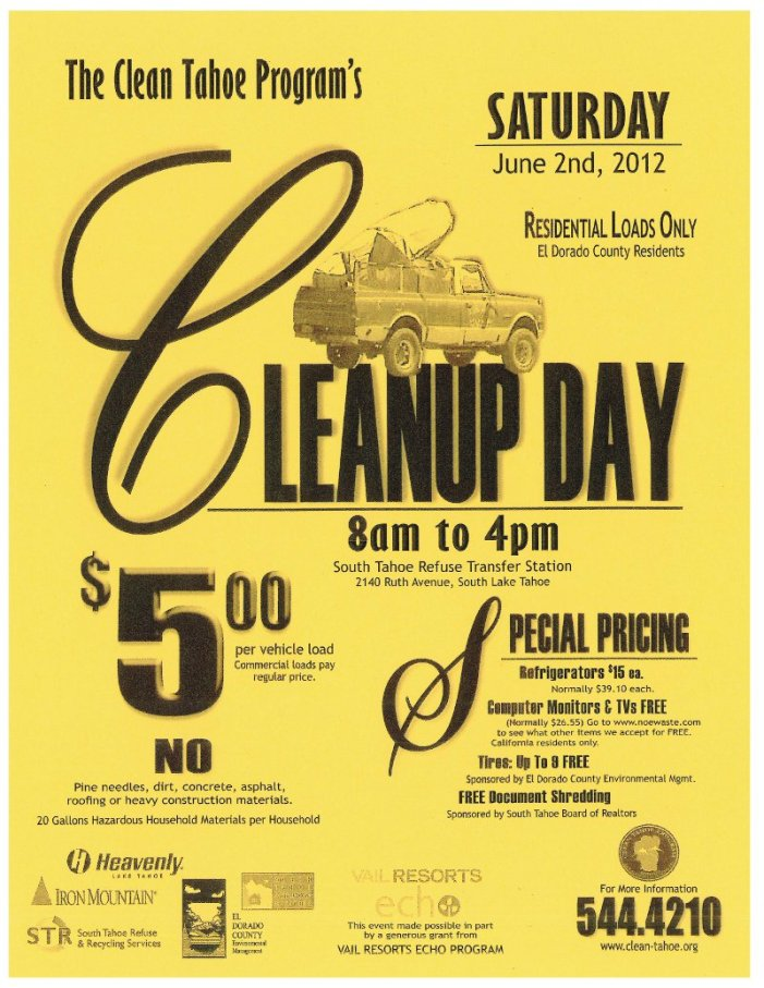 Dump Day this Saturday In South Tahoe!
