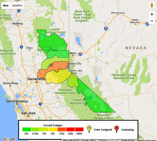Midnight At Earliest For Power Restoral For Tahoe Area Liberty Customers