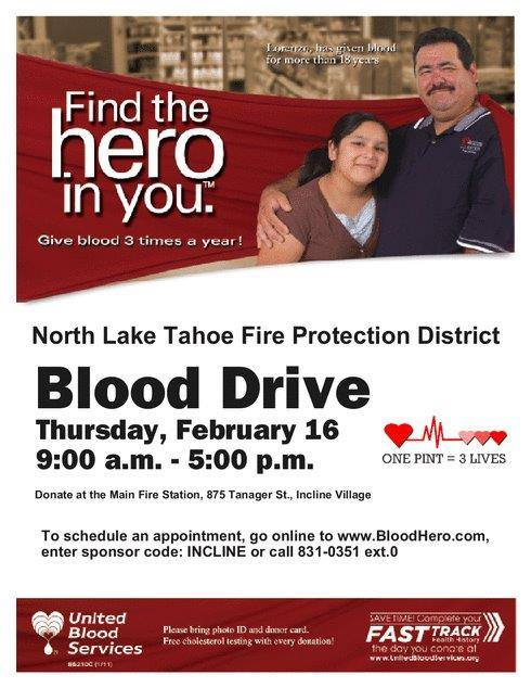 Blood Drive Tomorrow In Incline Village