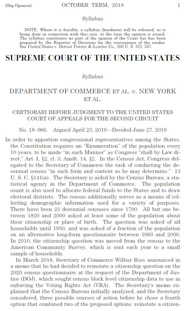 Supreme Court Decides 5-4 Citizenship Question Off 2020 Census Forms