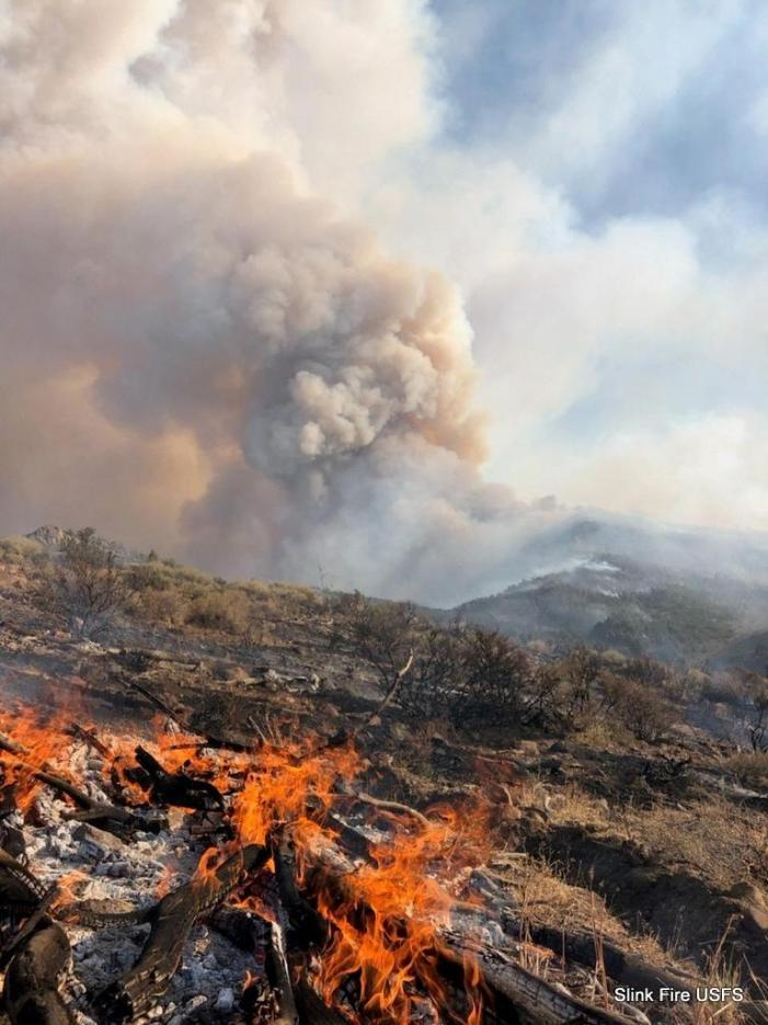 Slink Fire Grows to 14,200 Acres & 10% Containment.  Forest Service Closes Roads in Fire Area.