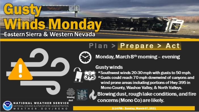 NWS Reno Says Strong Gusty Winds Impacting Reno/Tahoe Area