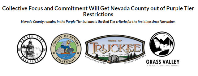 Nevada County Remains in Purple Tier But Meets Red Tier Criteria for First Time Since November.