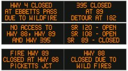 Traffic Update….Portions of State Routes 4, 88, 89 & 395 Closed Due to Tamarack Fire