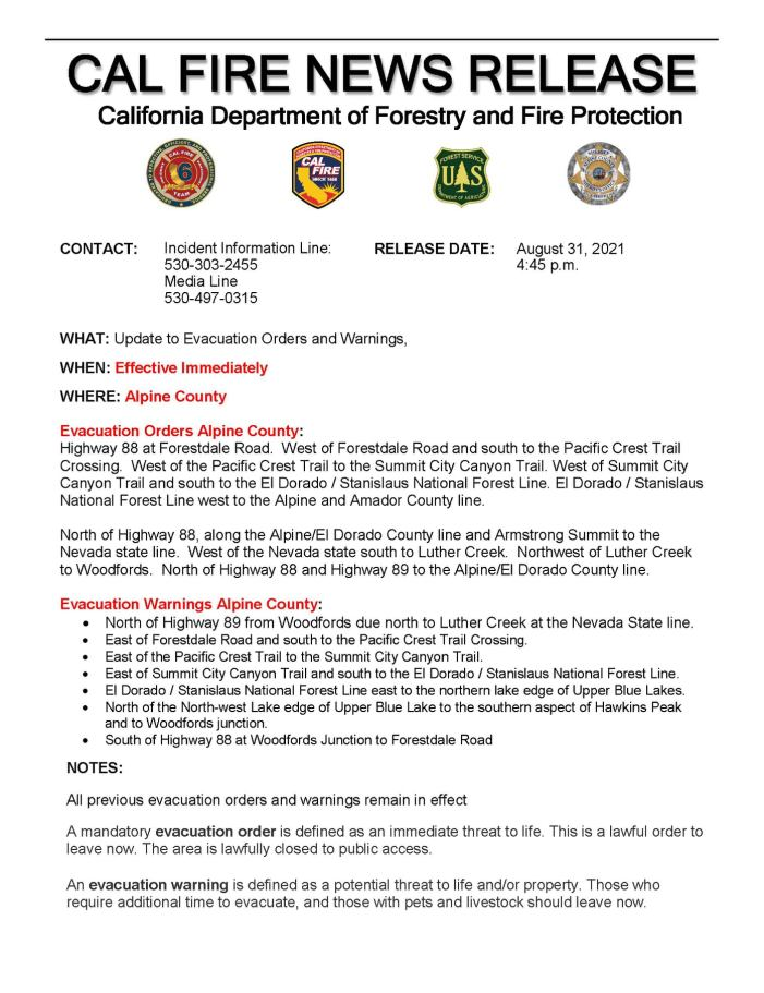 Additional Caldor Fire Evacuation Notices for Alpine County