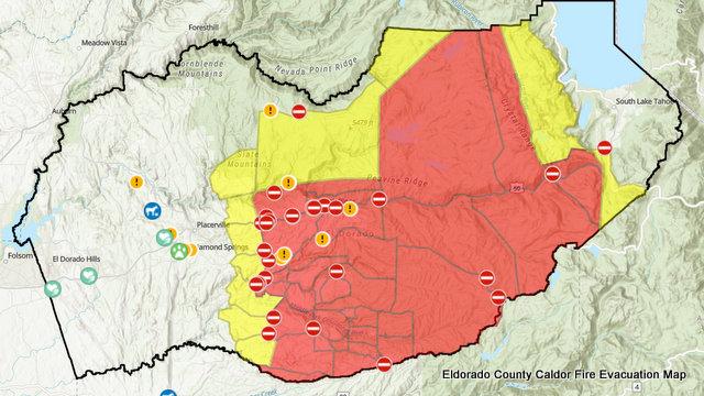 Update to Caldor Fire's Eldorado County Evacuation Orders, Warnings, and Road Closures