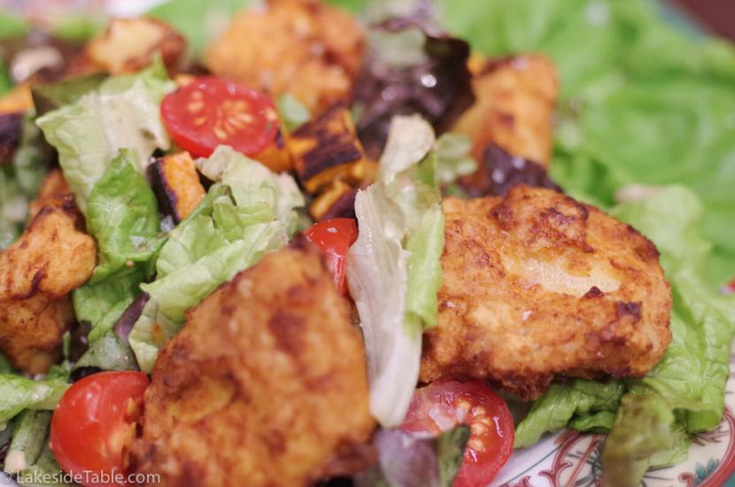 Fried Chicken Salad - Cold crisp salad and hot fried chicken. The best of both worlds! Lunch recipes | www.lakesidetable.com