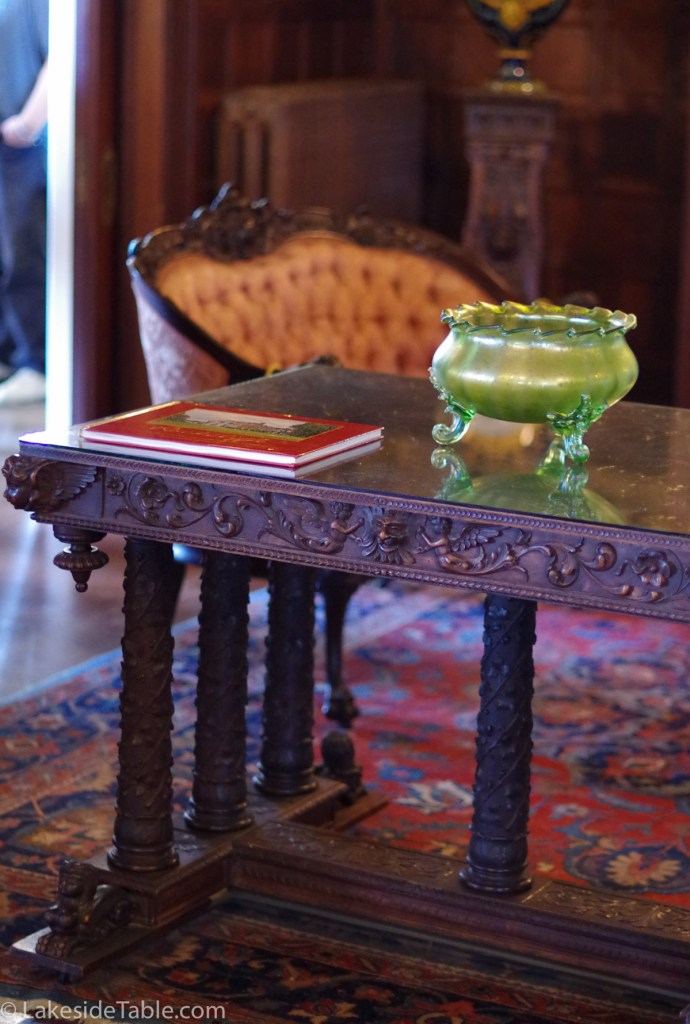Hand carved Italian table of Rockcliffe Mansion Bed and Breakfast | www.lakesidetable.com