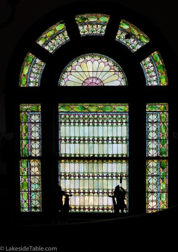 Tiffany window of Rockcliffe Mansion B&B | www.lakesidetable.com