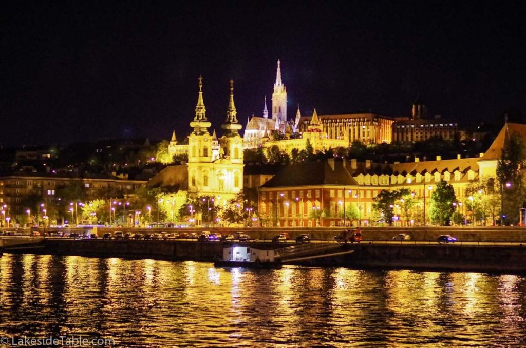 Pest of Budapest night time on the Danube | www.lakesidetable.com